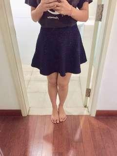 Navy Blue Korean Skater Skirt