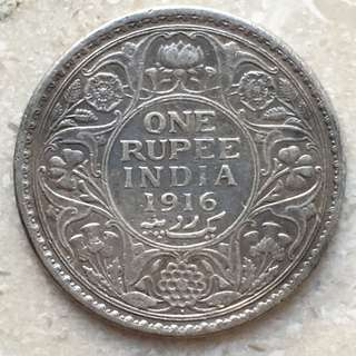 British India Silver One Rupee 1916 Toned Coin