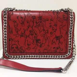 Zara genuine leather w/ chain Artwork bag