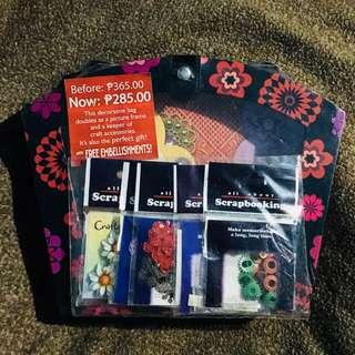 Scrapbooking Supplies with decorative bag