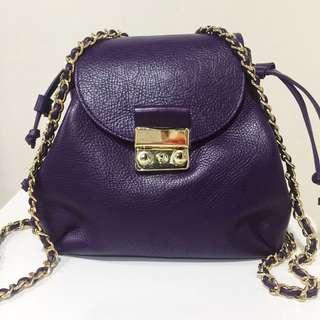 Zara Genuine Leather backpack w/ chain strap
