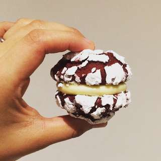 Red Velvet crinkles with cream cheese frosting