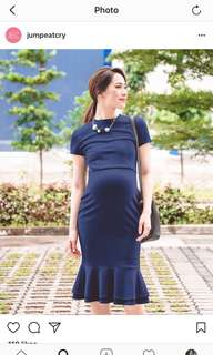 Jump Eat Cry Size S Navy Mermaid Hem Bodycon Nursing Dress