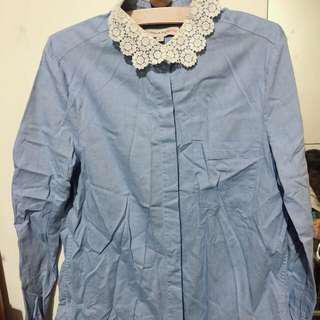 Paul & Joe 藍色 領口蕾絲襯衫