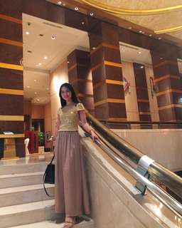 Brown maxi long skirt