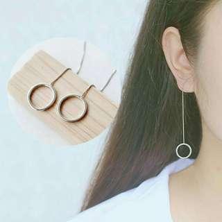Long circle earrings silver