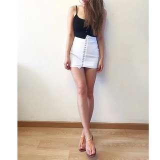 Minimei追加款✪韓系韓版歐美風百搭休閒春夏新款針織柳釘排扣可造型不規則邊針織包身大彈力半身裙