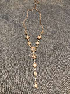 Blue floral necklace, gold chain