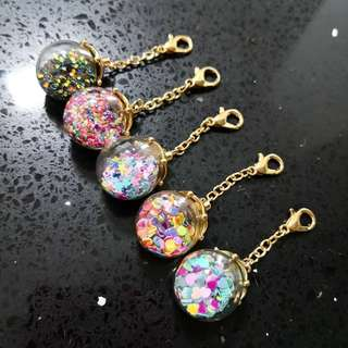 Colourful glass globe charms with lobster clasp