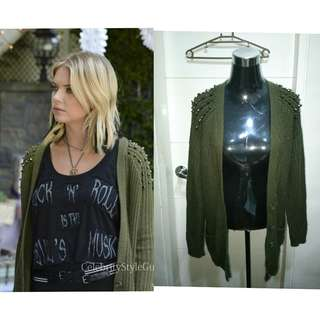 Authentic TOPSHOP STUD green cardigan as seen on UK 6