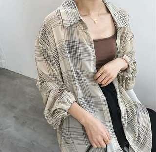 韓國空運🇰🇷慵懶垂感格紋防曬罩衫襯衫