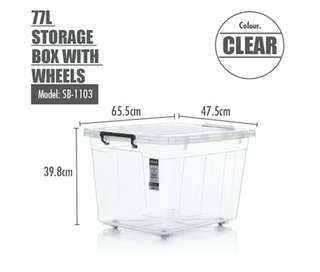 Brand new 77 litres storage box with wheels