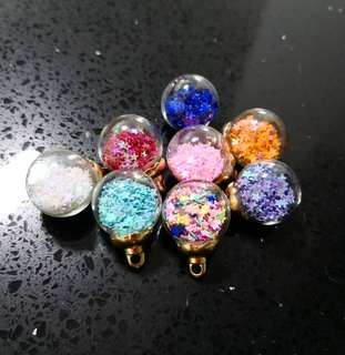 Star shaped glass ball charms