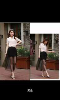 Thin Slim Long Skirt Perspective Sexy Mesh Skirt