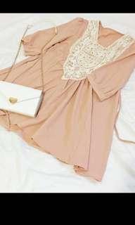 日本日系蕾絲七分袖綁帶橘粉色七分袖洋裝