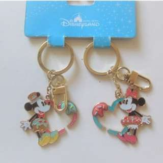 全新 Disneyland Mickey and Minnie Keychain Keyring 吊飾 鎖匙扣