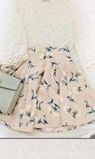 日本蕾絲鈎花圓領短款米白八分袖罩衫