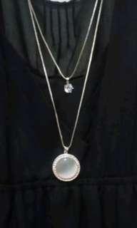 FA36 Fashion Statement Long Double Chain Necklace w/ Moonstone Pendant