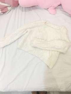 日系超柔軟馬海毛短版長袖毛衣可搭紗裙