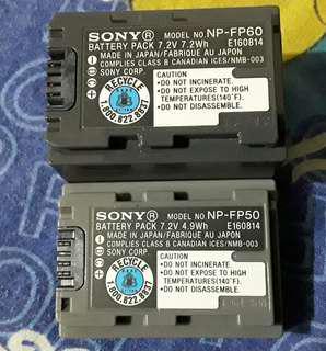 原裝 SONY DV BATTERY PACK NP-FP50 & NP-FP60 7.2V MADE IN JAPAN