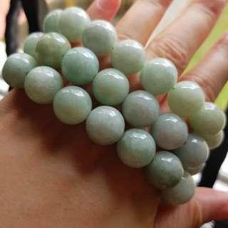 超大翡翠项链Grade A myanmar jade 14MM大珠子