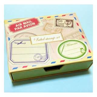 Kodomo No Kao Wood Label Stamp Set - Air mail