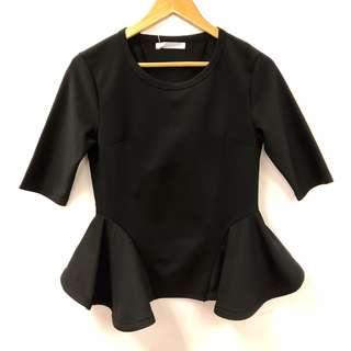 Johanna Ho black ruffles top size S