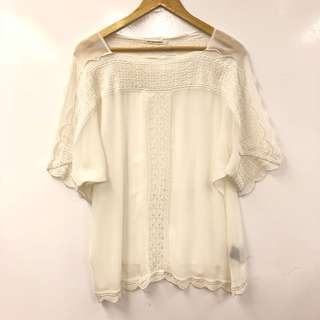 Isabel marant white with emborderies top size 34