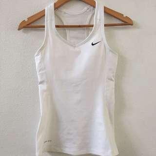 Nike White Dri Fit Tank w Built in Shelf Bra