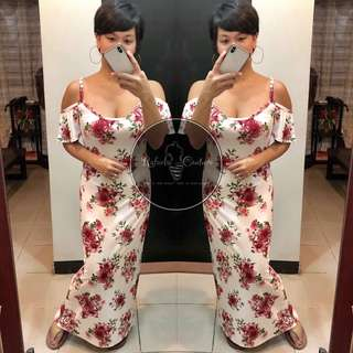 (REGULAR) Naomi Cold Shoulder Maxi Dress - WHITE FLORAL