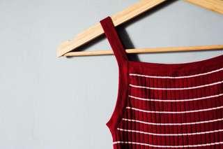 🚚 全新紅色條紋針織細肩帶小可愛背心 #畢業兩百元出清