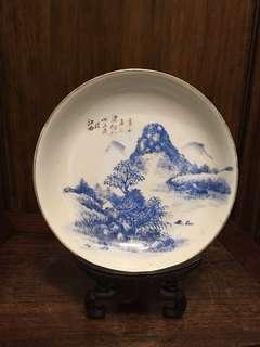 民國藍釉手繪山水碟
