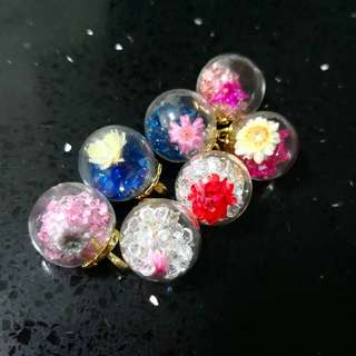 Flower crystals glass ball charms