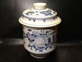 聽雨樓:#QQH-0101:【清代】清代青花博古紋蓋罐