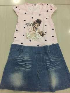 Pink dot jeans Dress