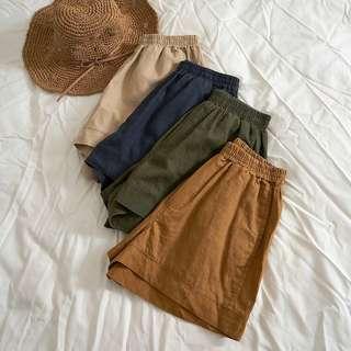 棉麻寬鬆短褲
