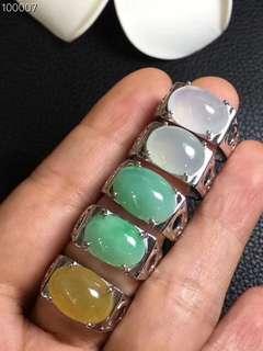 銀鑲鋯石男士翡翠蛋面戒指
