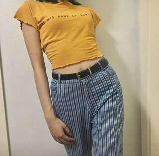 Blue retro striped jeans