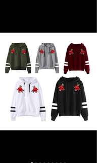 PO Ulzzang Pullover Sweater Hoodie Rose Embroided