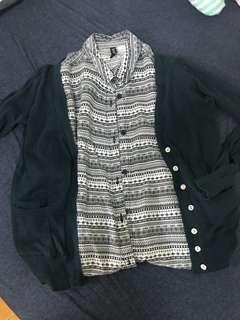 🚚 H&M黑白圖騰長袖襯衫 + 森林系墨綠薄針織外套 #畢業一百元出清