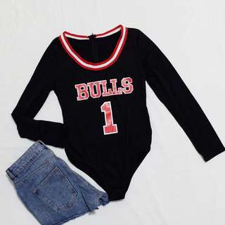 Bulls Bodysuit in Black🖤