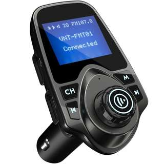 716. Bluetooth FM Transmitter For Car - Wireless Radio Adapter Kit, 1.44 Inch Display, Supports SD TF Cards, USB Port & Car Charger, Compatible With All Smartphones and iPods - Vont