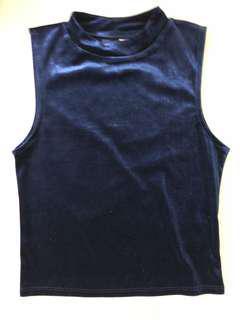 H&M Blue Velvet Top