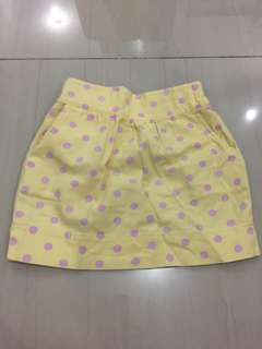 Polka dots mini Skirt in yellow