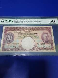 $10-1940 MALAYA PMG50 AU.ORIGINAL NOTE