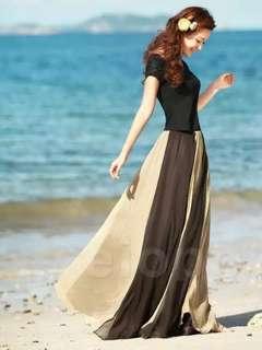 🚚 拼接海灘長裙