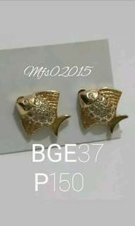 BGE37 Bangkok Gold Plated Fish Earrings w/ Simulated Diamonds