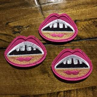 Iron on patch lips