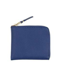 COMME des GARÇONS HOMME PLUS Textured Leather mini zip pouch (Navy/Black) 藍 / 黑
