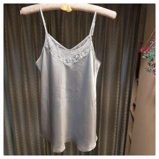 透膚蕾絲涼感睡衣組-粉藍XL(現貨)